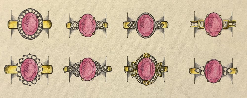 Variations on a new design for a loose oval pink tourmaline ring.