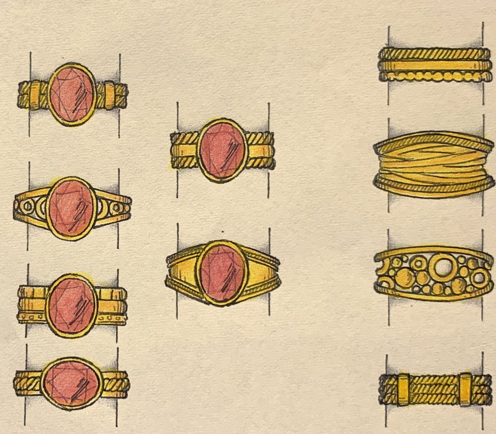 Designs using customers gold for mounting a garnet using fine gold twists and granulation.
