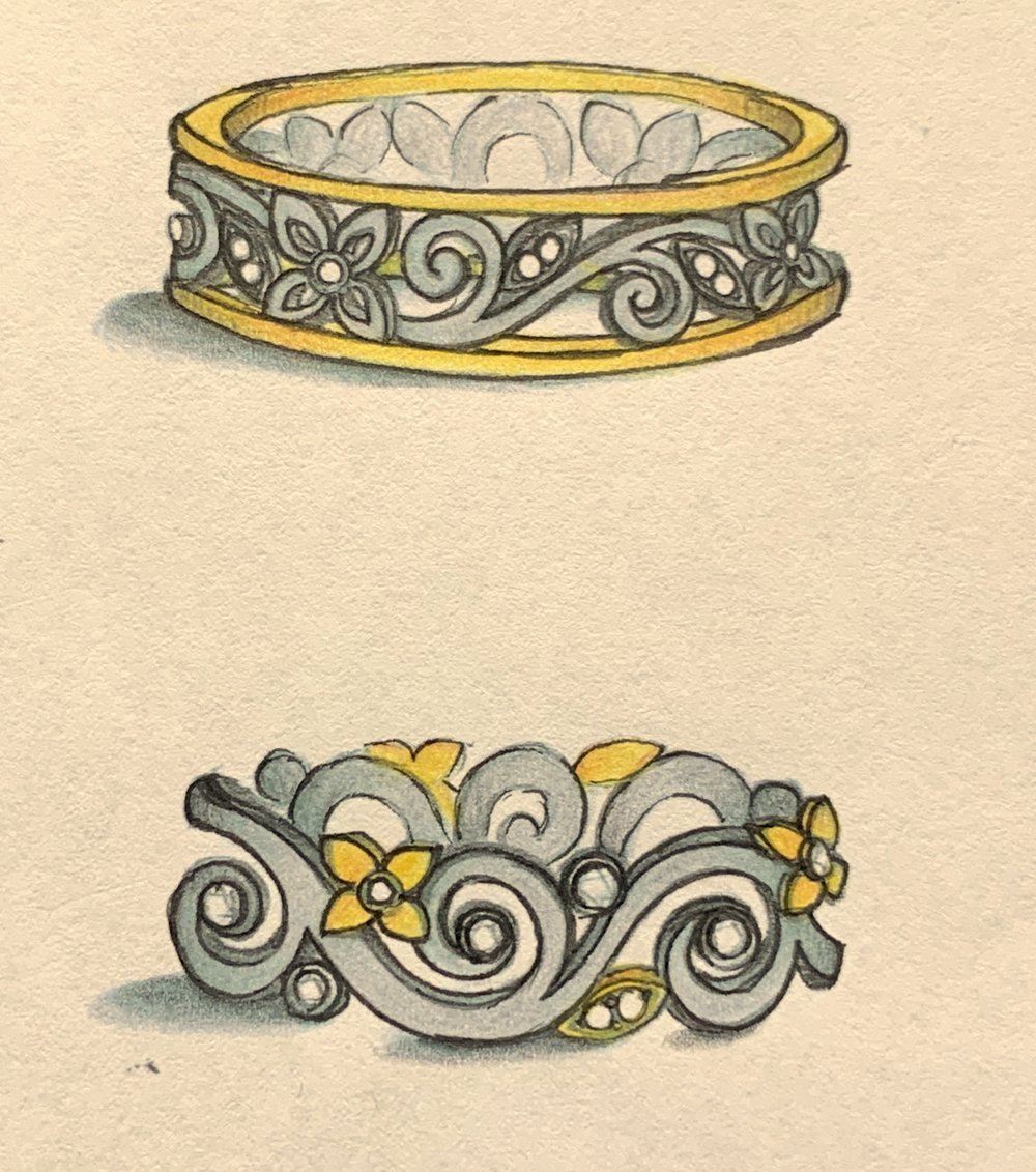 Yellow and white metal combinations for a foliate design ring.