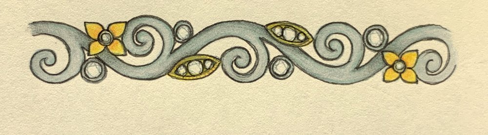 White and yellow metal foliate scroll design.