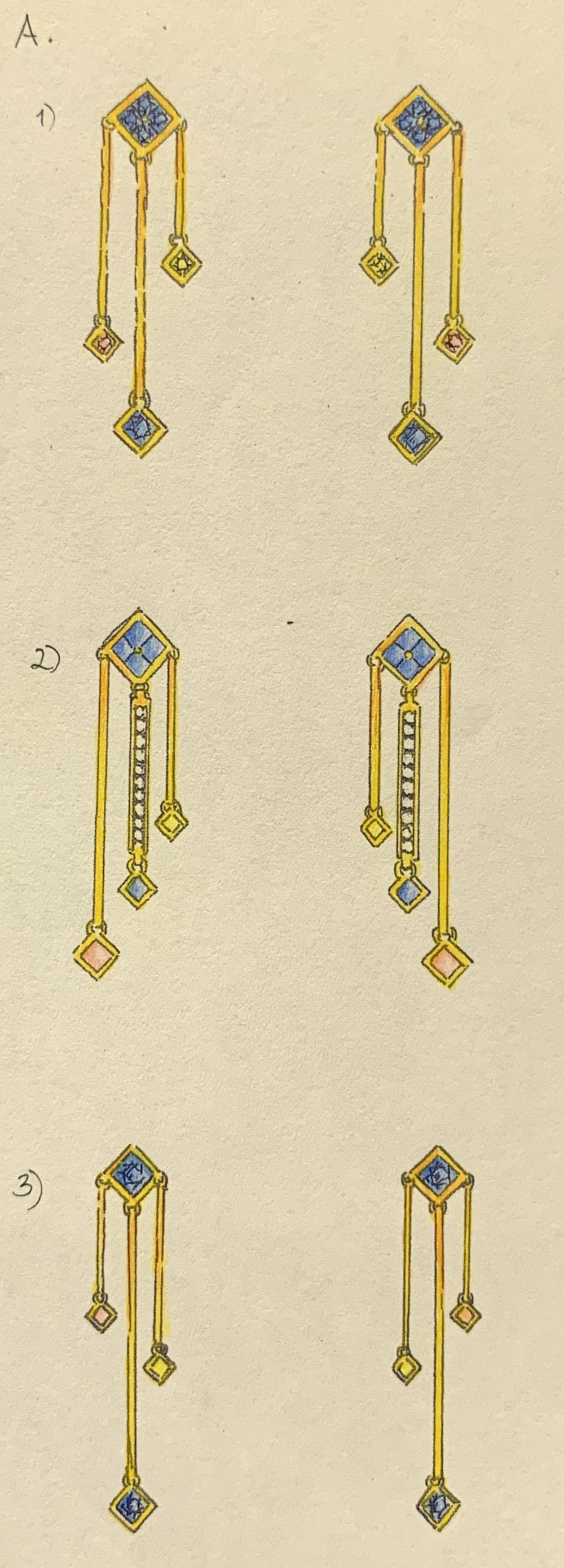 Drop earrings set with coloured sapphires.