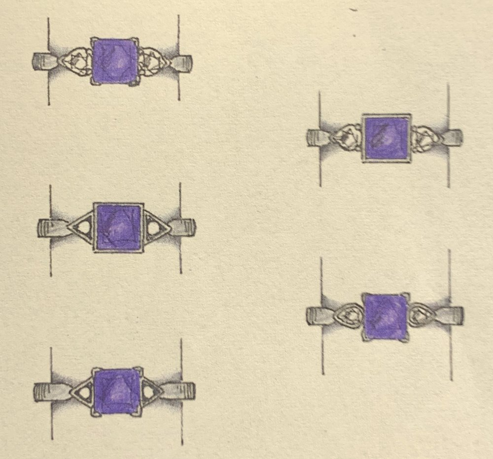 Five designs for a Tanzanite and diamond 3 stone ring.