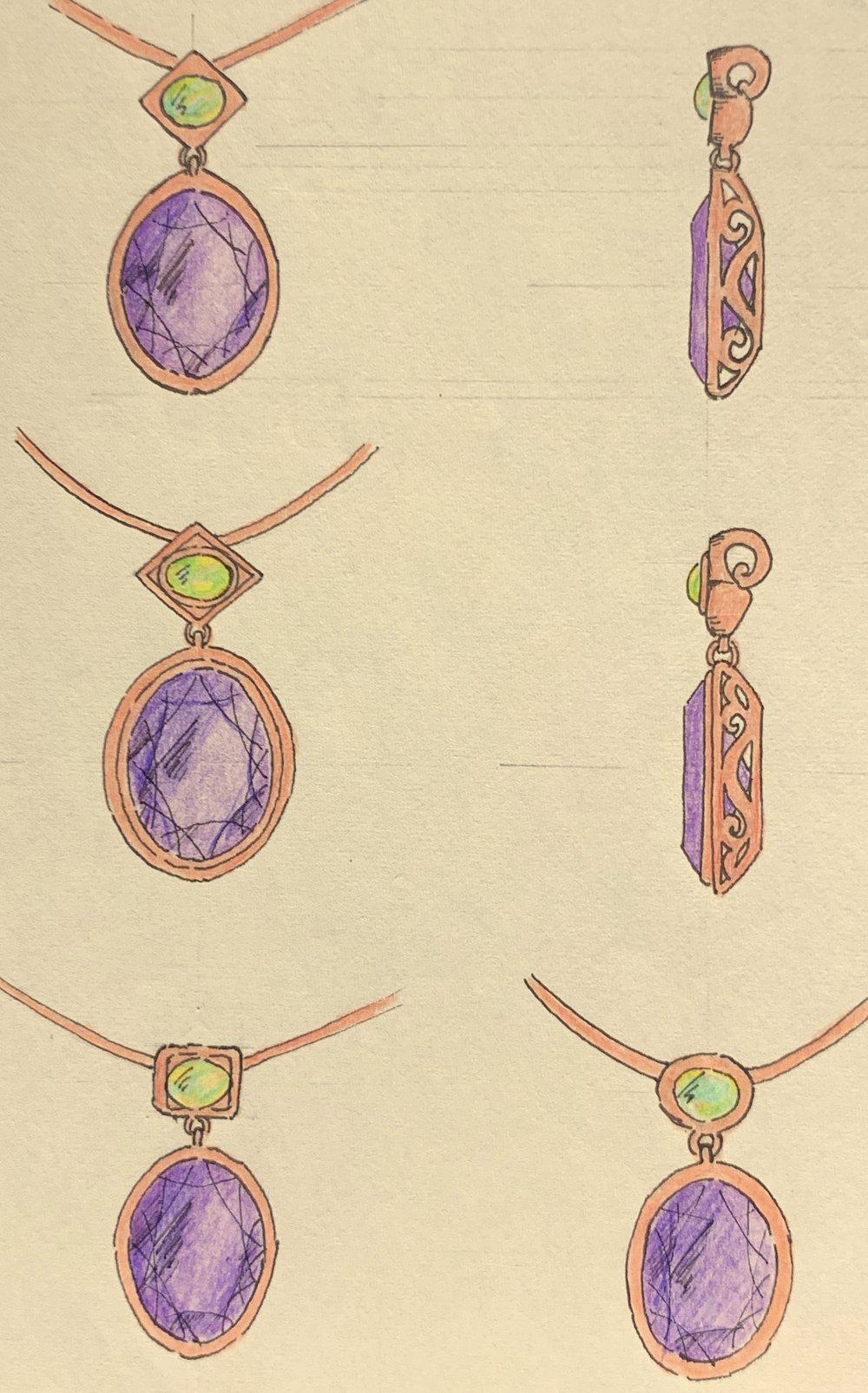 Rose gold, peridot and amethyst pendant variations.