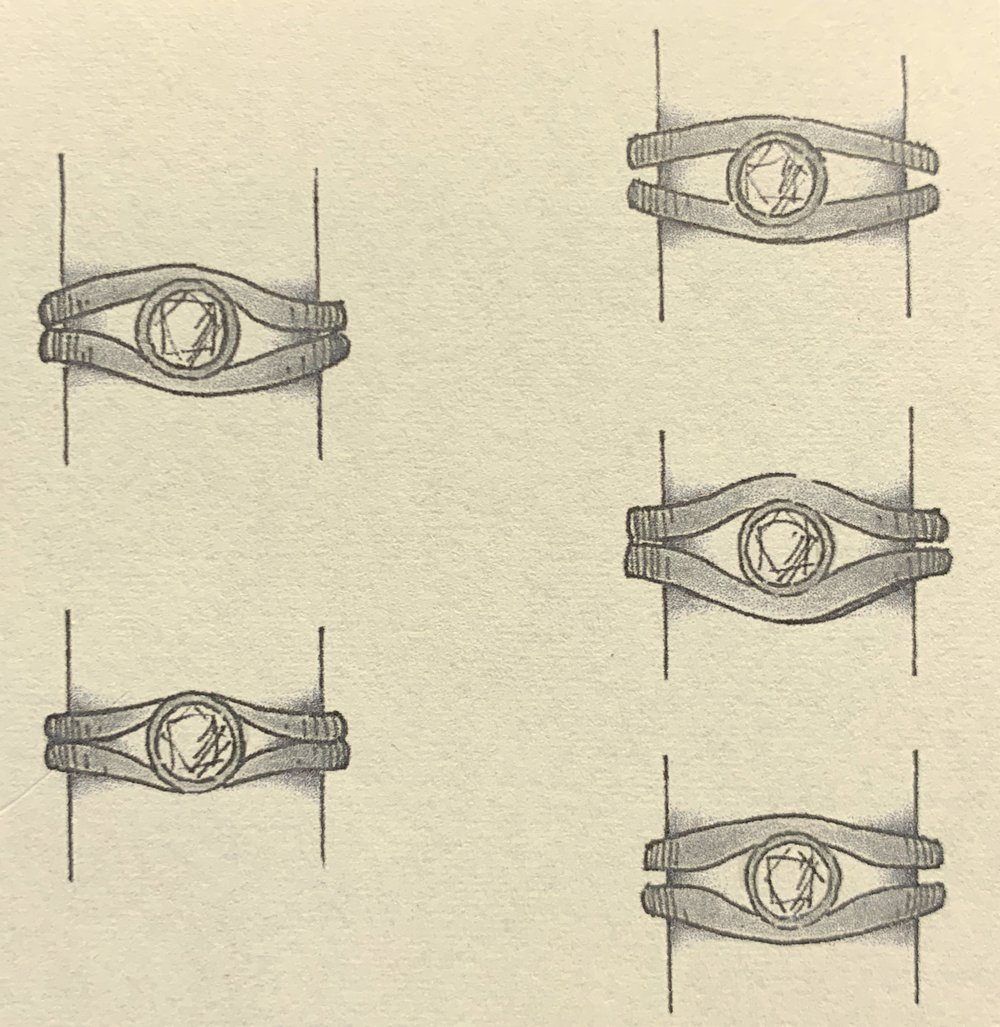 Designs for a little finger ring using a loose diamond.
