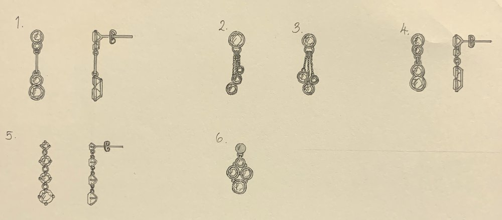 Drop earring designs for 8 variable sized diamonds.
