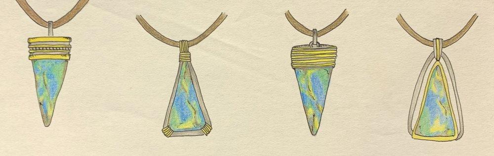 Unusually cut opal designs for pendant.