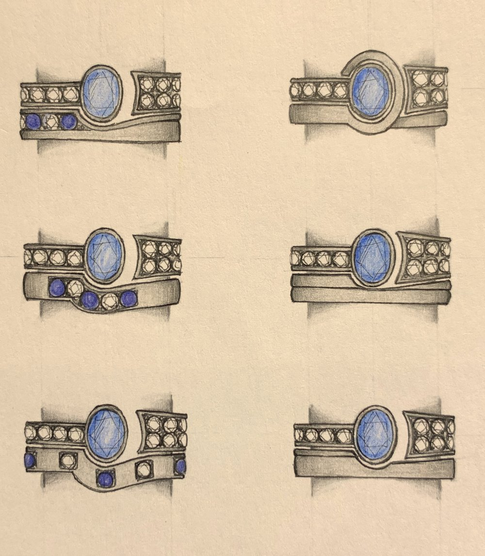 Further variations on a sapphire tension ring with fitted band.