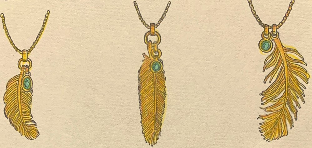 Designs for gold feather pendants with emerald drop.