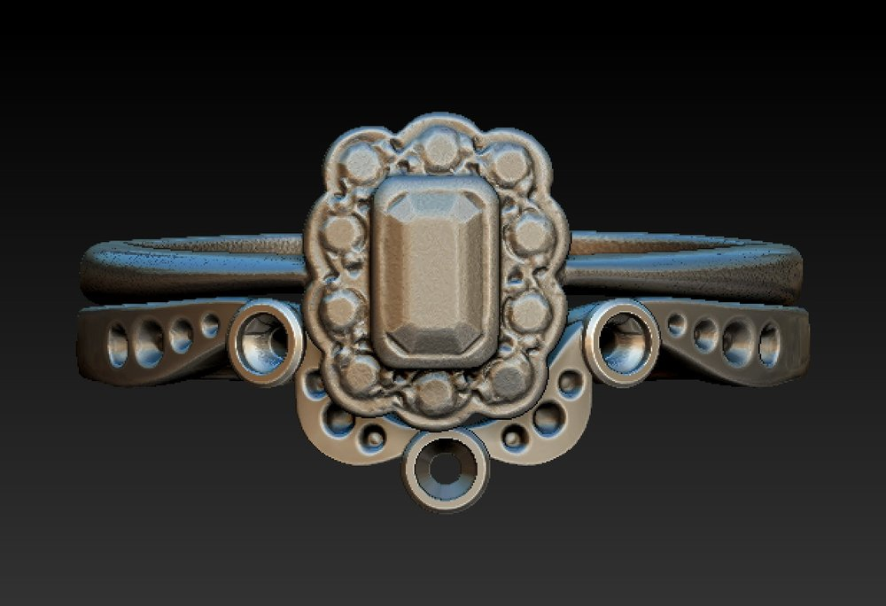 Copy of Antique style fitted and shaped wedding ring CAD design.