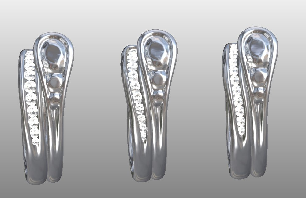 Copy of Shaped and fitted diamond set wedding ring design around 3d scanned engagement ring.