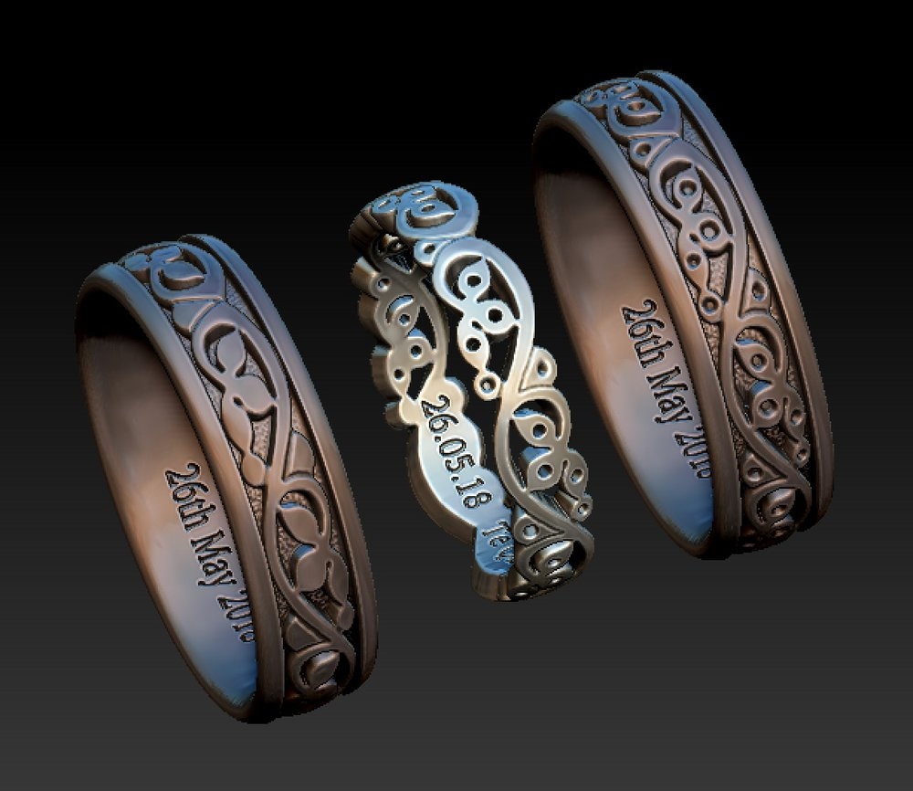 Copy of Cad designs for diamond set lds foliate wedding ring with matching gts wedding ring with no stones.