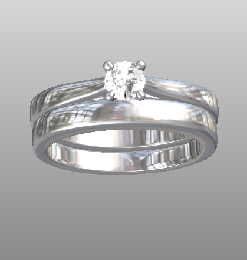 Copy of Classic 4 claw solitaire with matching classic wedding ring - CAD work.
