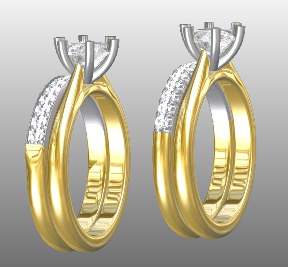 Copy of Two options of setting style of a new diamond set wedding ring. CAD work.