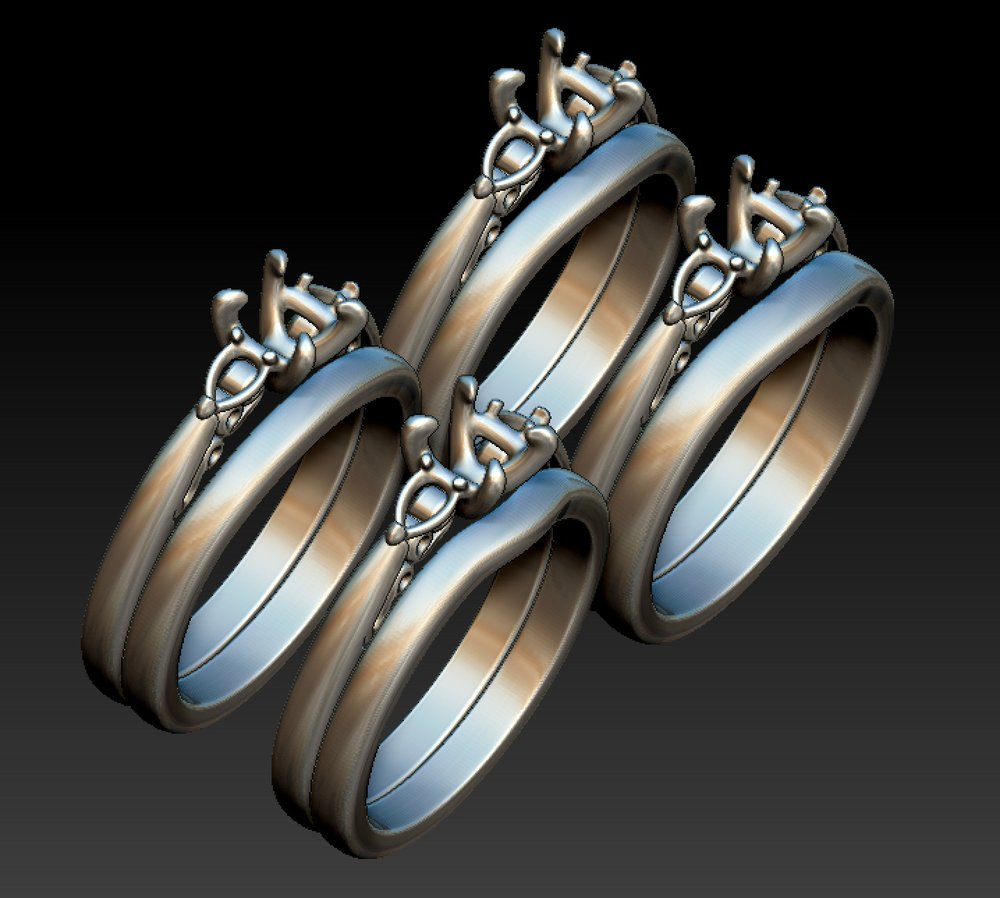 Copy of Very subtle variations for a plain and shaped wedding band. CAD work.