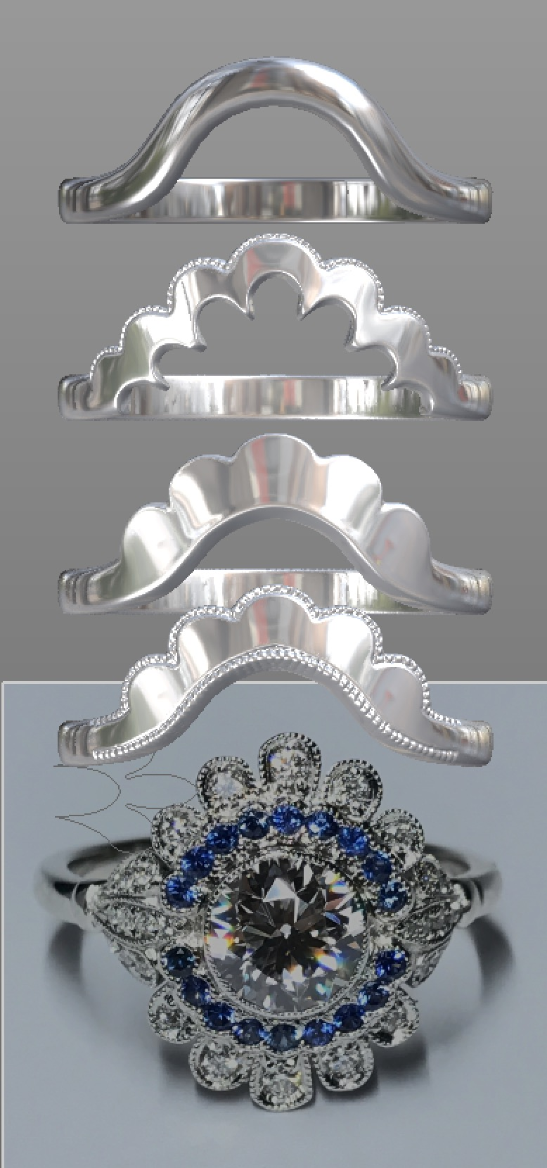 Copy of Options for a fancy shaped shaped and fitted wedding ring, this time using just the photograph (ok for just a design idea but not for a correct fit).