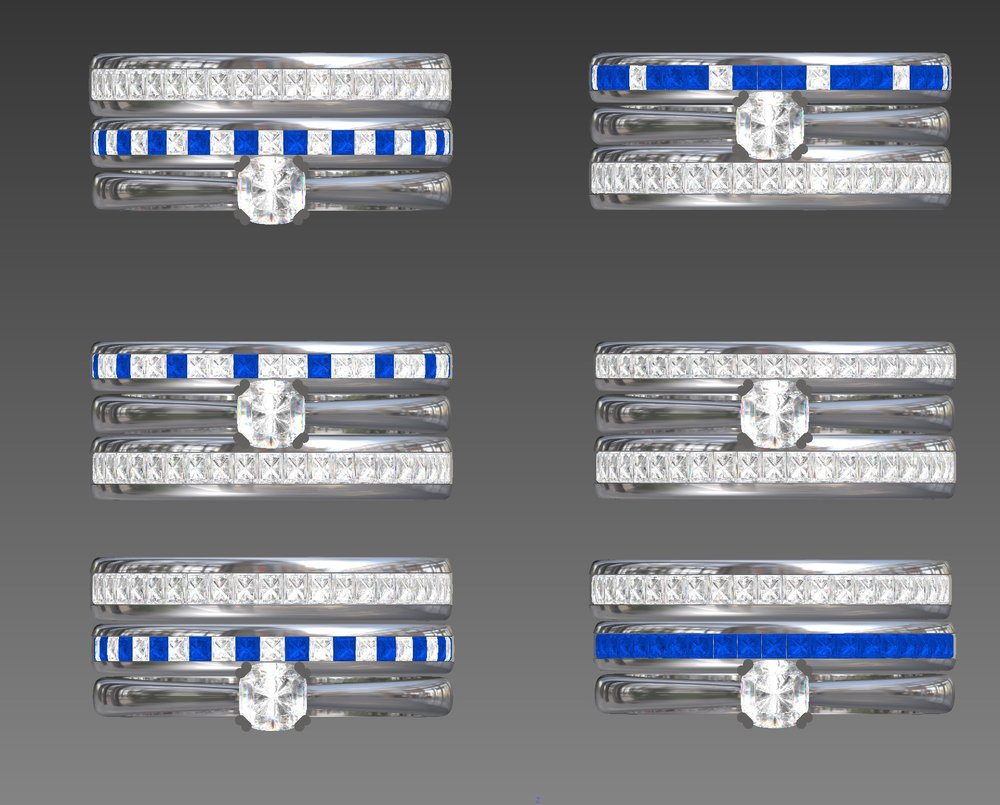 Copy of Options for stone layout for sapphire and diamond set band.
