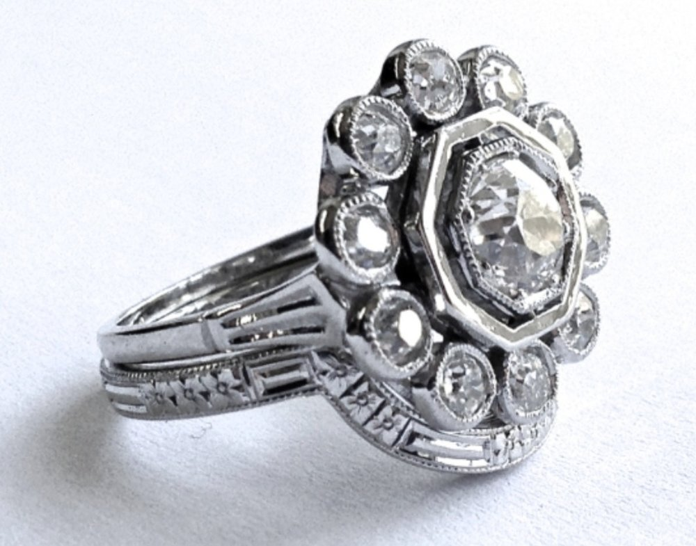 Copy of Platinum shaped and fitted hand engraved antique style wedding band.