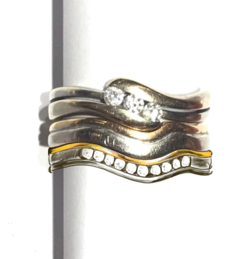 Copy of Photographed rings with hand drawn option for a matching diamond set 2 colour shaped band.