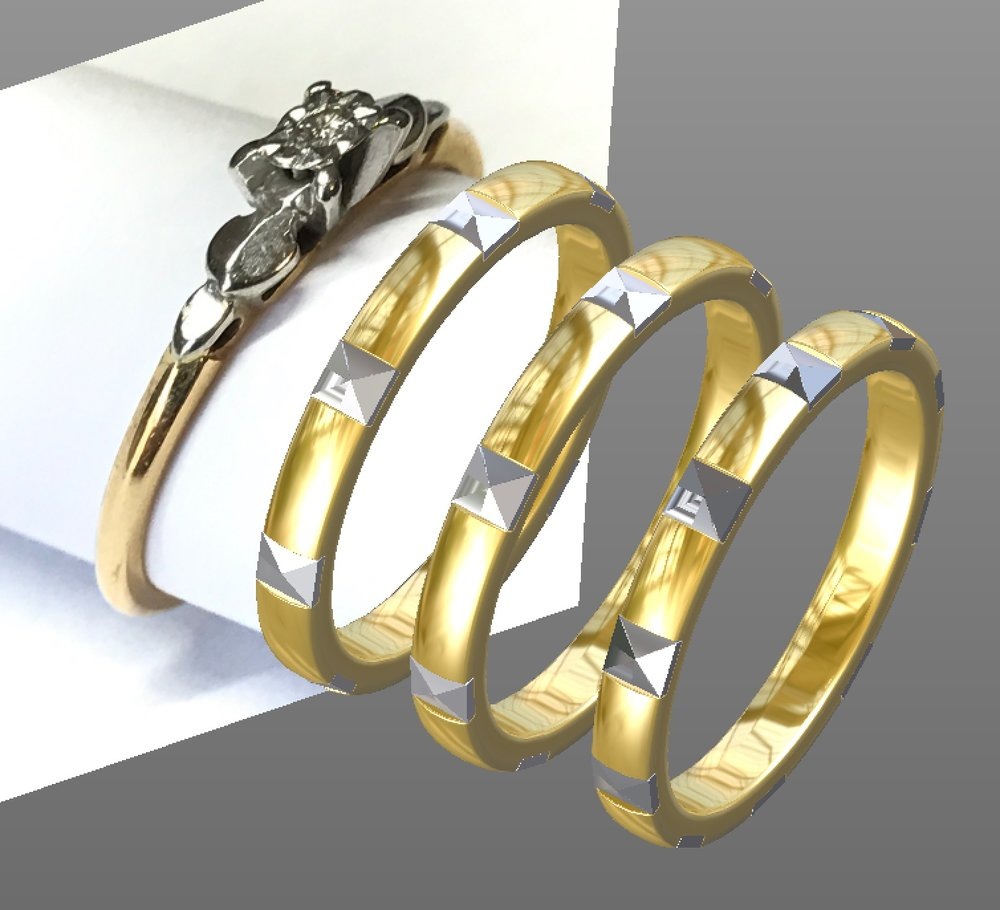 Copy of Photographed engagement ring withCAD options for a matching 2 colour wedding band.
