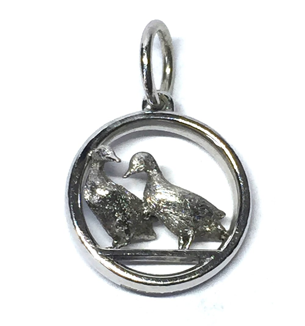 "Bespoke white gold ""ducks in love' pendant. Made in Chichester, England."