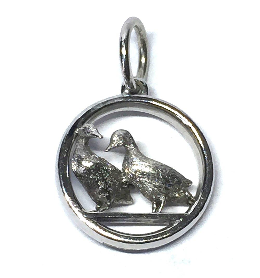 "Bespoke white gold ""ducks in love' pendant. Made in Chichester, England."