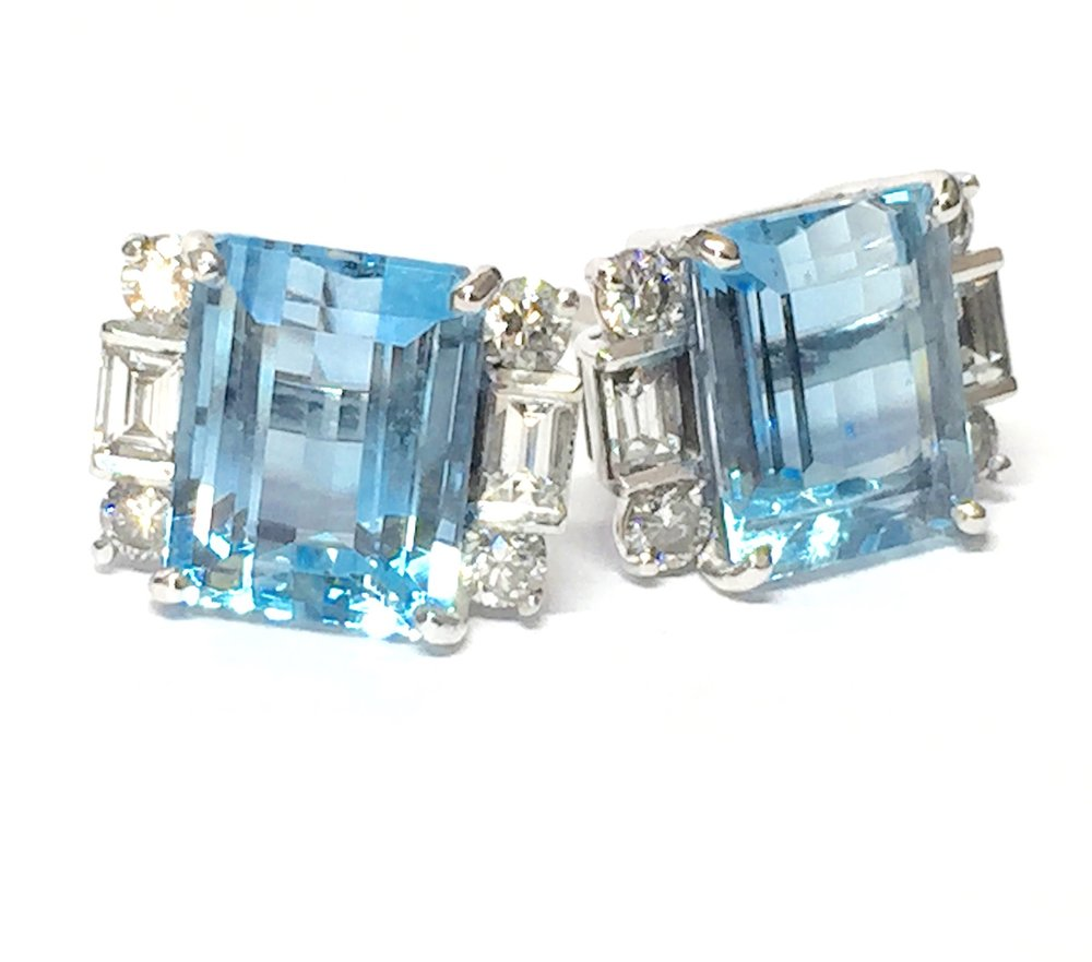 Aquamarine and diamond Art Deco style earrings. Made in Chichester, England.