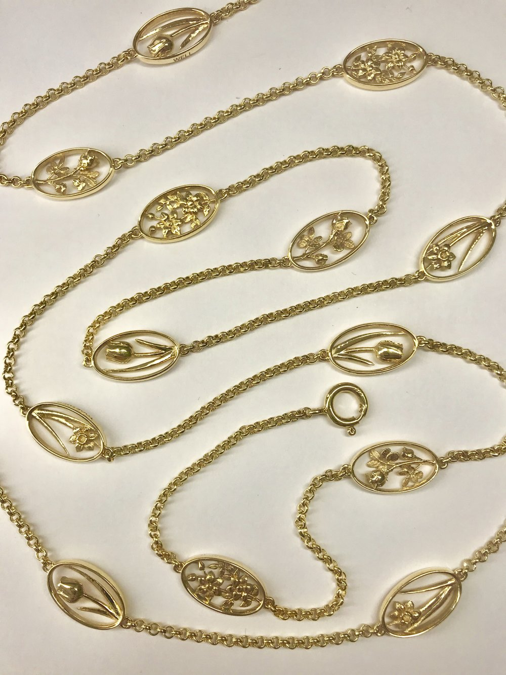 The finished necklace. This style of long necklace interspersed with design elements was very popular at the beginning of the C20th often with an Art Nouveau influence.