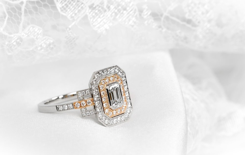 Platinum and 18ct rose gold diamond set Art Deco style oblong cluster ring. Beautifully made and set entirely in our workshops here in Chichester, England.