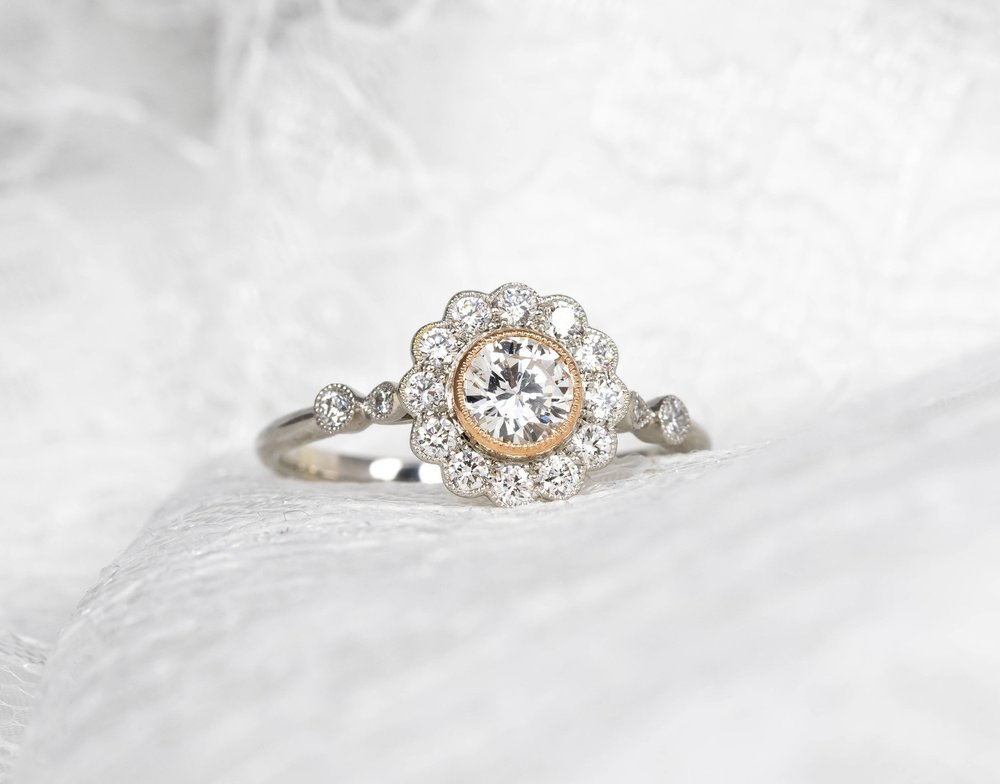 Platinum and 18ct rose gold Edwardian style daisy cluster. Made in Chichester, England.