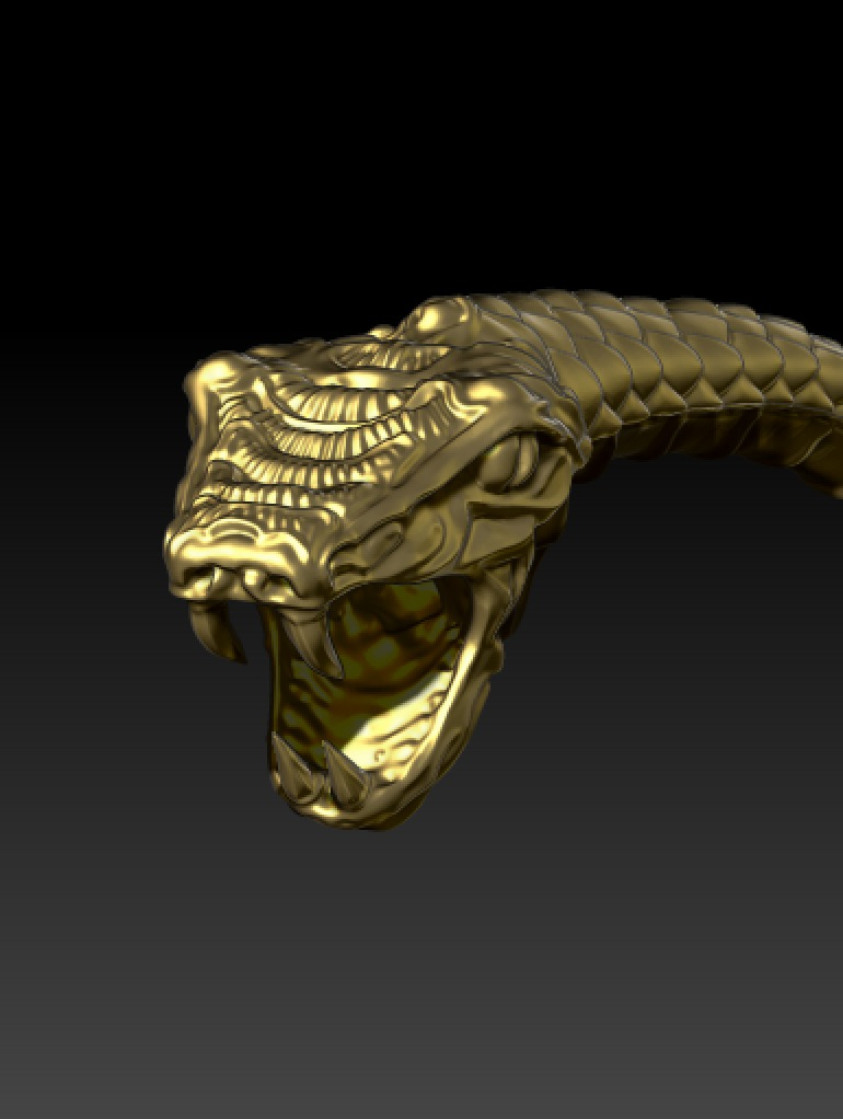 Screenshot from CAD modelling program of snake bangle detail.