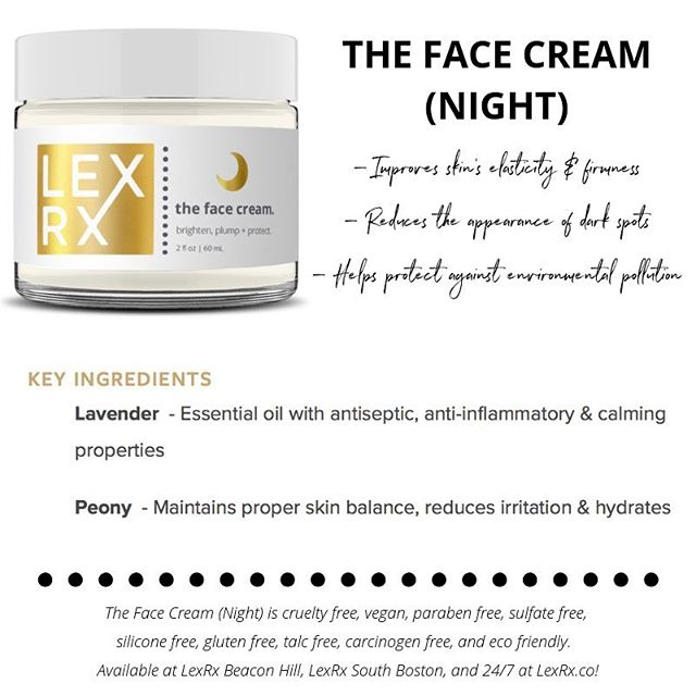 The Face Cream (Night) from The LexRx Line. . $35—available at LexRx Beacon Hill, LexRx South Boston, and 24/7 at LexRx.co 🖤 . #skincareroutine #skincare #beautybloggers #selfcare #boston #beaconhill #southie #seaportboston