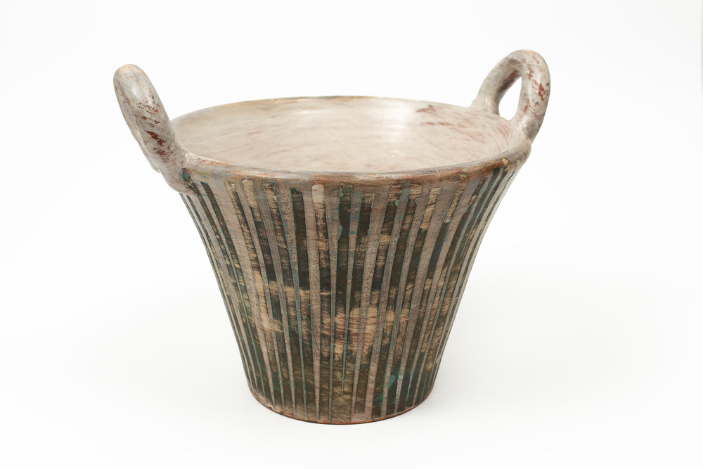 basket with vertical copper stripes