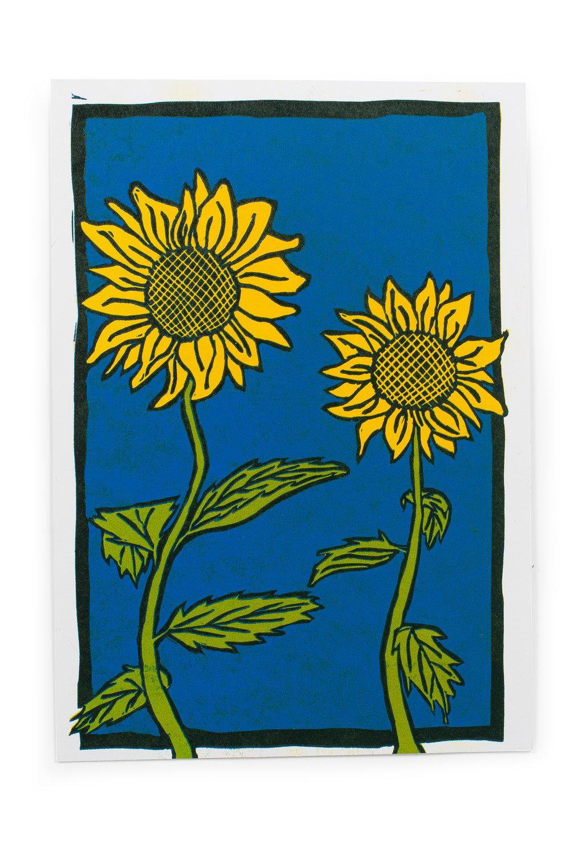 "Sunflower Reduction Print 6"" x 9"""