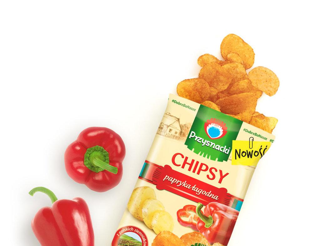 Chipsy Papryka Lagodna / Mild Paprika Chips 135g   5900073020095  / [772]   Przysnacki