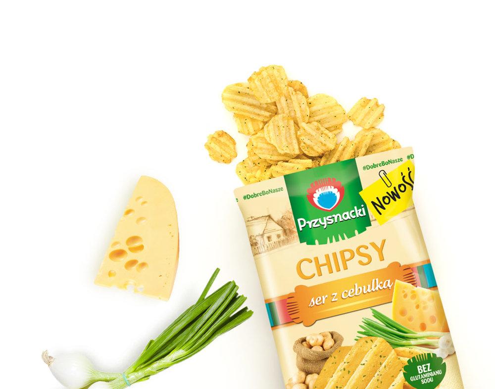 Chipsy Ryflowane Ser z Cebulka / Cheese & Onion 135g   5900073020088  / [771]   Przysnacki