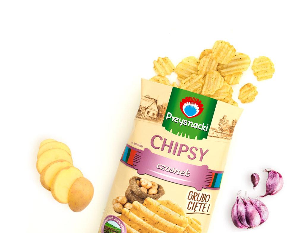 Chipsy Ryflowane czosnek / Grooved Garlic Chips 135g   5900073020064  / [631]   Przysnacki