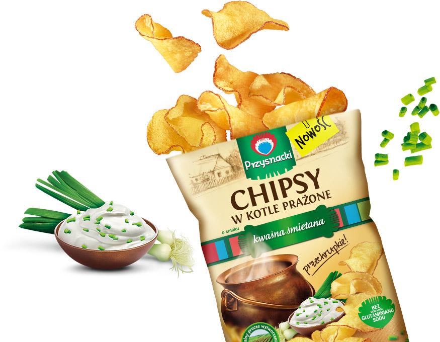 Chipsy w Kotle Prazone Kwasna Smietana / Sour Cream & Onion Kettle Chips 125g   01035817661083  / [656]   Chipsy w Kotle