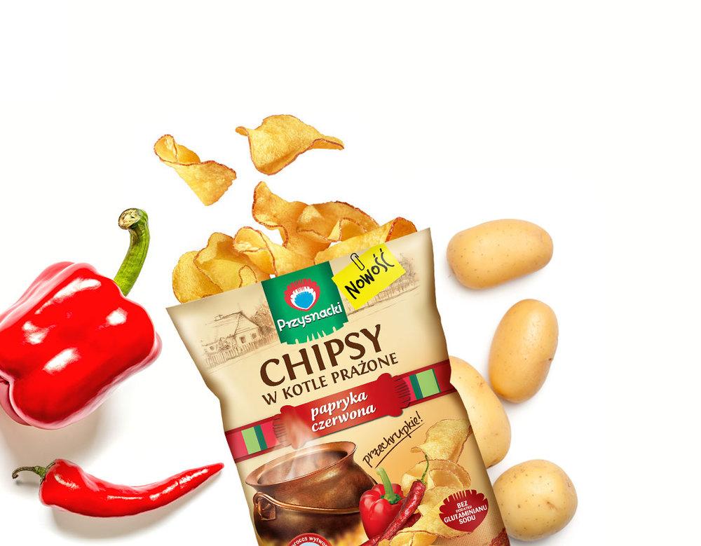 Chipsy w Kotle Prazone Paprykowe / Paprika Kettle Chips 125g   01035817661084  / [657]   Chipsy w Kotle