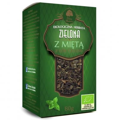 Zielona z Mieta Eko / Mint Green Tea 80g   5902581617019  / [893]   Zielone Herbaty Lisciate Eko