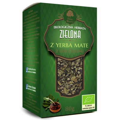 Zielona z Yerba Mate Eko / Yerba Mate Green Tea 80g   5902581617026  / [895]   Zielone Herbaty Lisciate Eko
