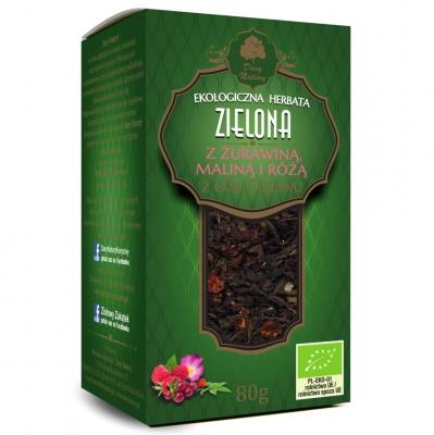 Zielona żurawina, Malina i Roza / Green Tea with Rose, Cranberry & Raspberry Eko 80g   5902581617088  / [897]   Zielone Herbaty Lisciate Eko