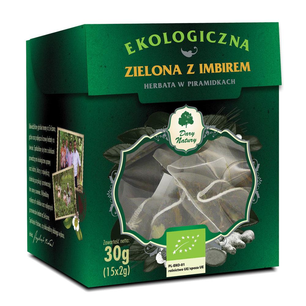 Zielona z Imbirem Eko / Green Tea with Ginger 15x2g   5902581617439  / [955]   Zielone Herbaty Piramidki