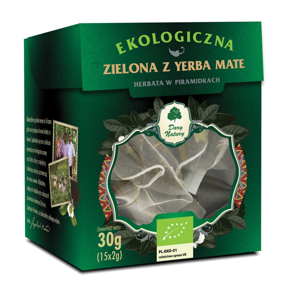 Zielona z Yerba Mate Eko / Yerba Mate Green Tea 15x2g   5902581617477  / [957]   Zielone Herbaty Piramidki