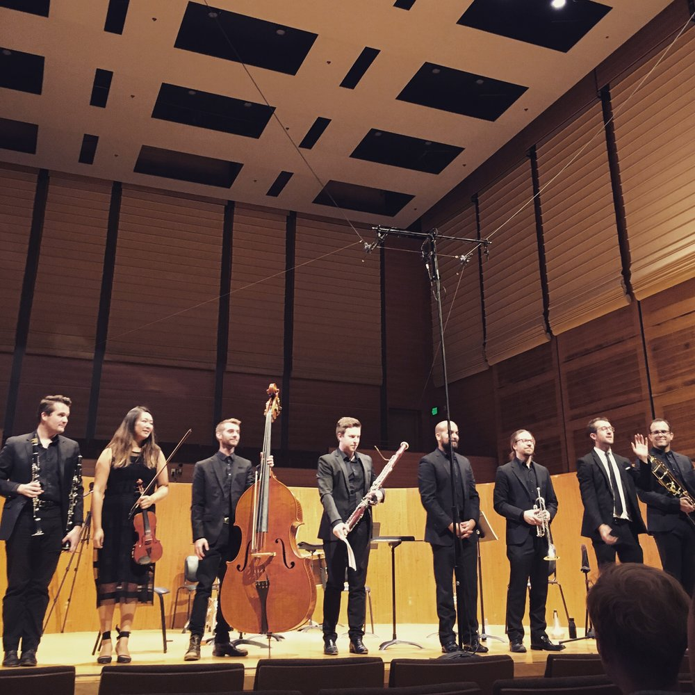Elevate Ensemble after the Stravinsky Legacy concert and performance of my piece, Thirty-three Years.
