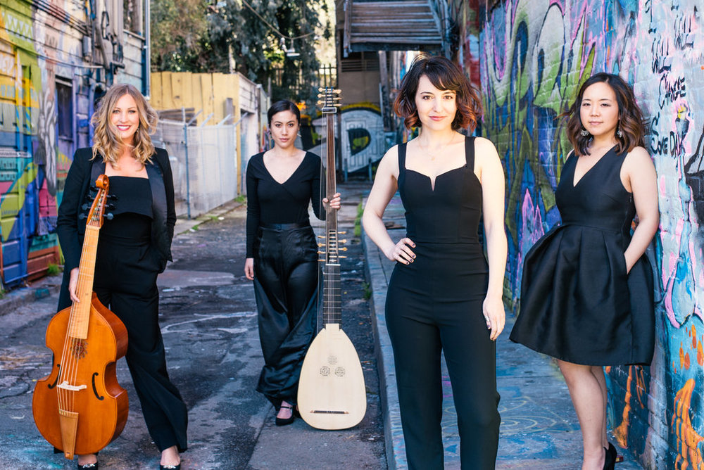 Liaison Ensemble: (left to right) Hallie Pridham - baroque cello, Tatiana Senderowicz - theorbo, Melinda Becker - mezzo-soprano, Susie Fong - harpsichord