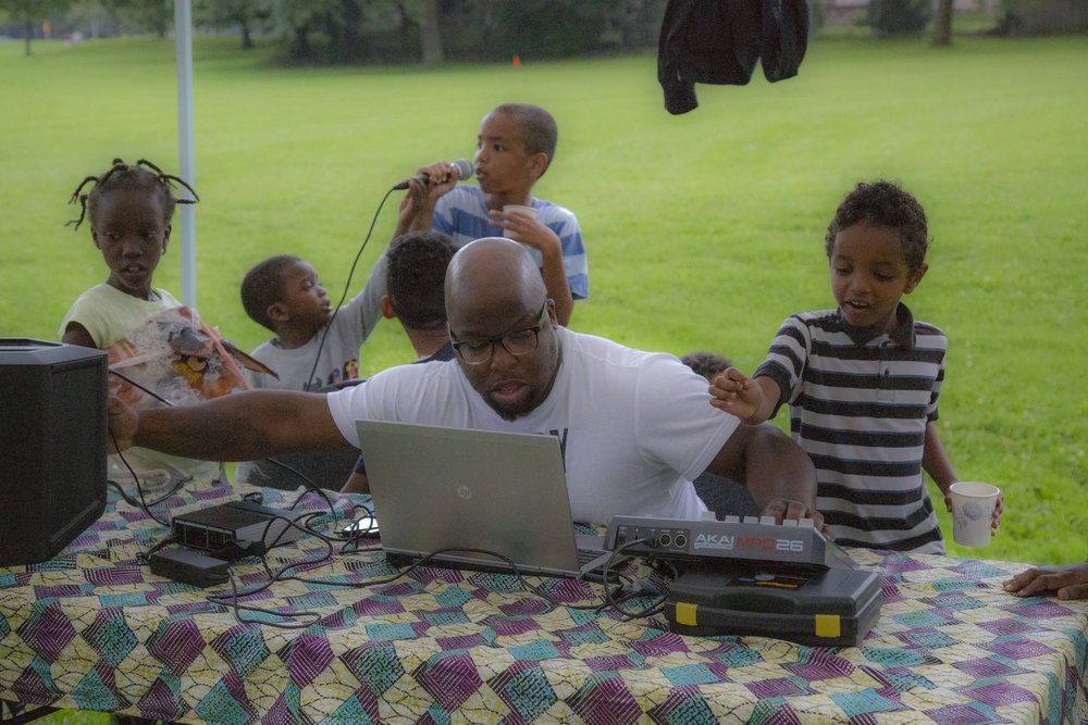 Children take part in an electronic music project in Broadacres Park