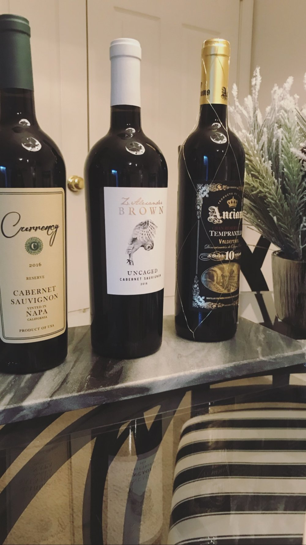 A variety of Reds… - Again, all served on a marble slab, Katie style.Two bold Cabernets, and one Old World Rioja, aged 10 years, heavenly beauty.