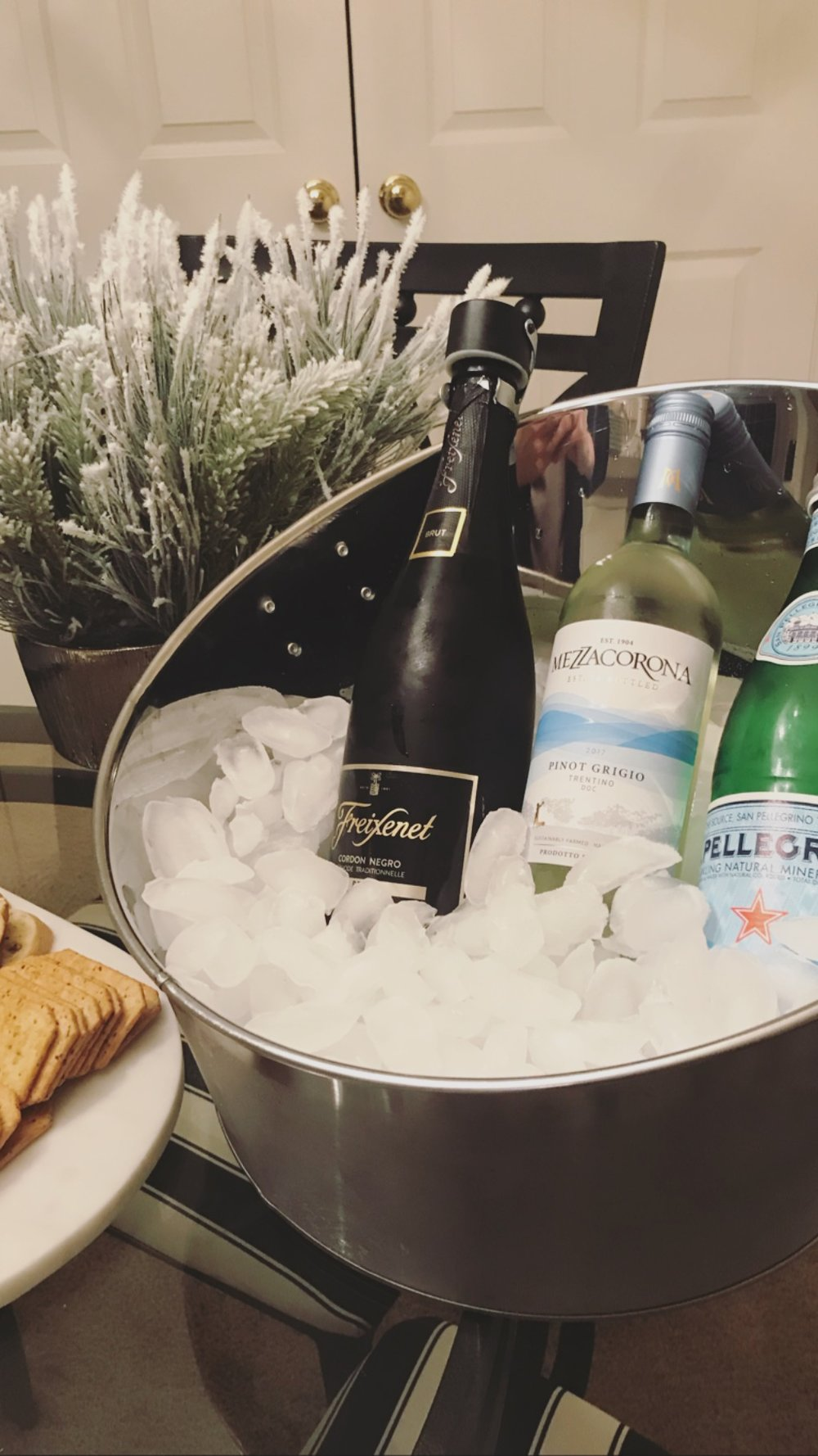 A variety of Whites… - Iced, of course, in a cute bucket, we have brut, because there's no such thing as a Katie party without bubbly. Pinot Grigio, and then a little Pellegrino to make sure we all stay hydrated. (: