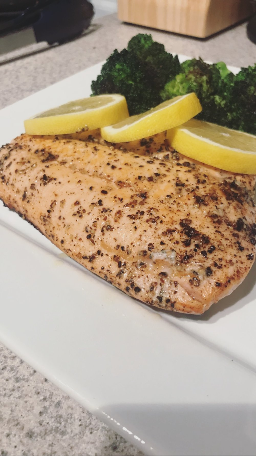 Lemon Pepper Salmon + Broccoli - Monday Night Dinner!