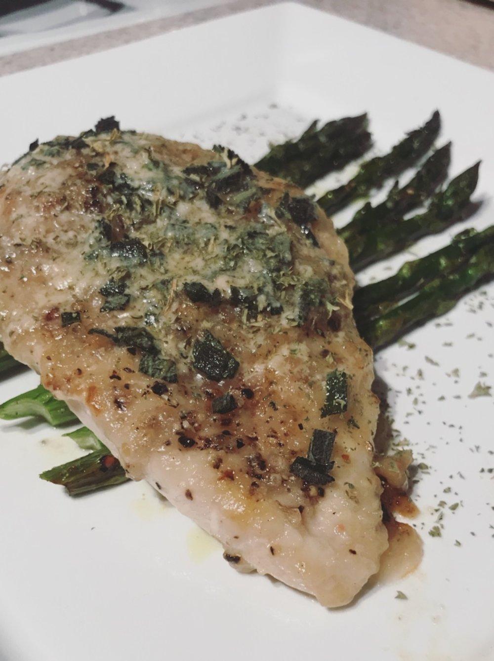 Creamy Dijon Chicken + Oven Roasted Asparagus - Tuesday Night Dinner!